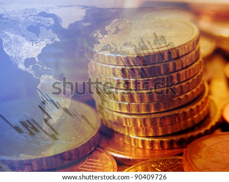 Finance background with coins and graph. Finance concept. - stock photo