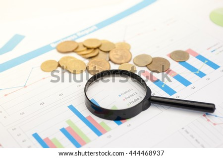 Finance background with market data and euro cents.  - stock photo