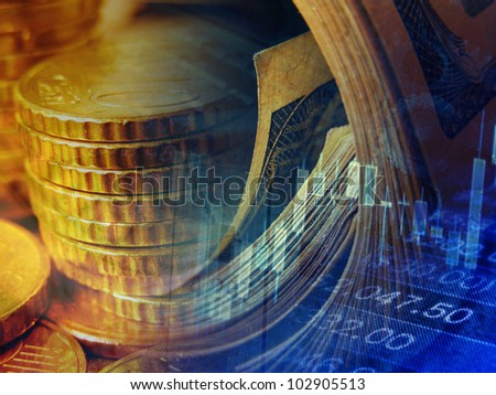 Finance background with money and graph. - stock photo