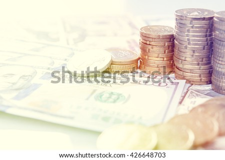 Finance background with money Dollar and ERO. Finance concept. - stock photo