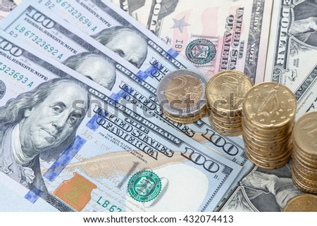 Finance background with money Dollar and EURO. Finance concept. - stock photo