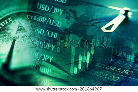 Finance background with stock market chart, currency data and clock. Business concept.  - stock photo
