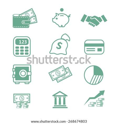 Finance business bank set  Icons-  illustration  - stock photo
