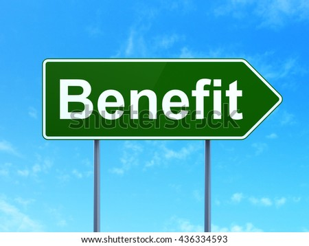 Finance concept: Benefit on green road highway sign, clear blue sky background, 3D rendering - stock photo