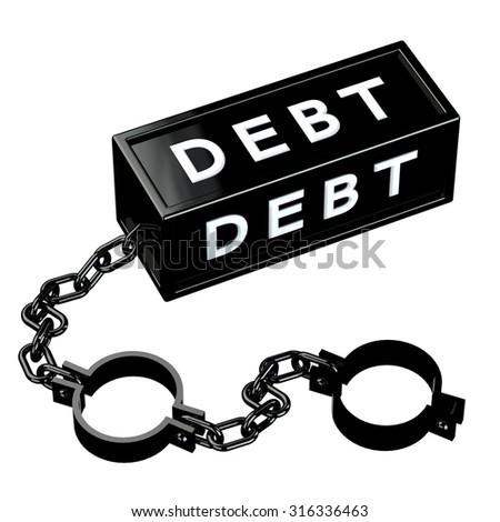 Finance concept: Black shackles with word debt, isolated on white background.  - stock photo
