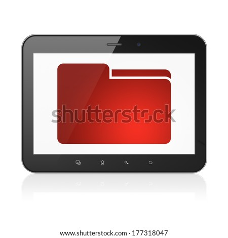 Finance concept: black tablet pc computer with Folder icon on display. Modern portable touch pad on White background, 3d render - stock photo