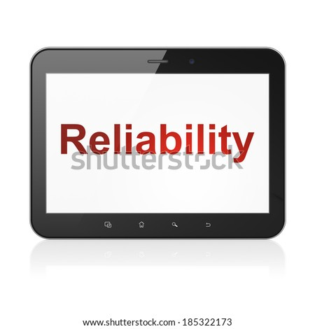Finance concept: black tablet pc computer with text Reliability on display. Modern portable touch pad on White background, 3d render - stock photo