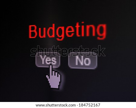 Finance concept: buttons yes and no with pixelated word Budgeting and Hand cursor on digital computer screen, selected focus 3d render - stock photo