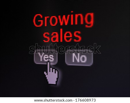 Finance concept: buttons yes and no with pixelated word Growing Sales and Hand cursor on digital computer screen, selected focus 3d render - stock photo