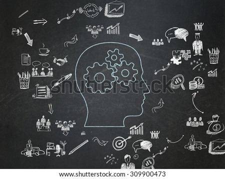 Finance concept: Chalk Blue Head With Gears icon on School Board background with Scheme Of Hand Drawn Business Icons - stock photo