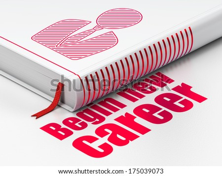 Finance concept: closed book with Red Business Man icon and text Begin New Career on floor, white background, 3d render - stock photo