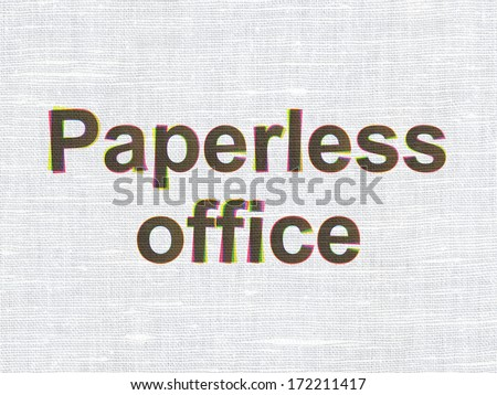 Finance concept: CMYK Paperless Office on linen fabric texture background, 3d render - stock photo