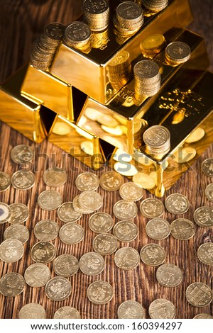 Finance Concept, coins and gold - stock photo