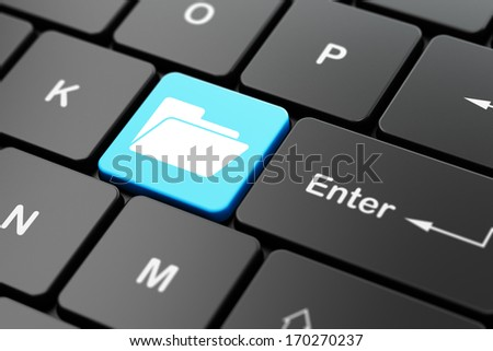 Finance concept: computer keyboard with Folder icon on enter button background, 3d render - stock photo