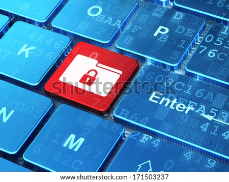 Finance concept: computer keyboard with Folder With Lock icon on enter button background, 3d render - stock photo