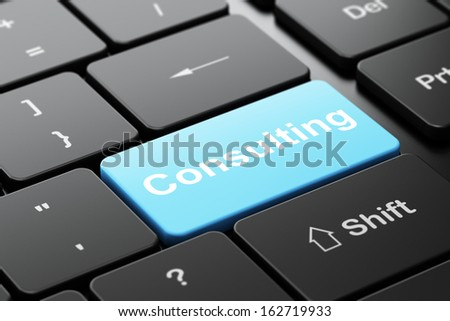Finance concept: computer keyboard with word Consulting, selected focus on enter button background, 3d render - stock photo