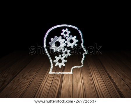 Finance concept: Glowing Head With Gears icon in grunge dark room with Wooden Floor, black background, 3d render - stock photo