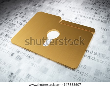 Finance concept: Golden Folder With Keyhole on digital background, 3d render - stock photo