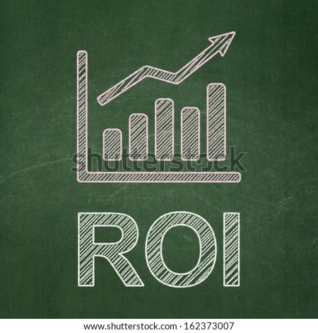 Finance concept: Growth Graph icon and text ROI on Green chalkboard background, 3d render - stock photo