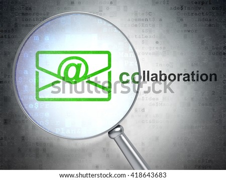 Finance concept: magnifying optical glass with Email icon and Collaboration word on digital background, 3D rendering - stock photo