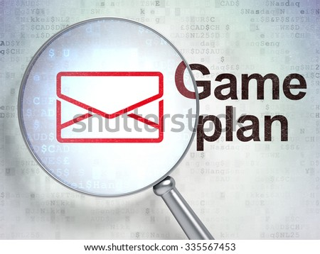 Finance concept: magnifying optical glass with Email icon and Game Plan word on digital background - stock photo