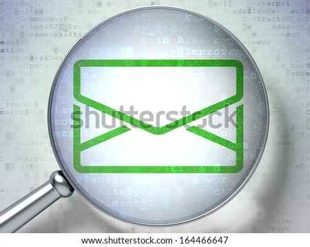 Finance concept: magnifying optical glass with Email icon on digital background, 3d render - stock photo