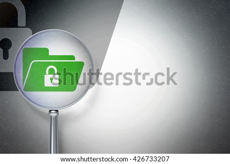 Finance concept: magnifying optical glass with Folder With Lock icon on digital background, empty copyspace for card, text, advertising, 3D rendering - stock photo