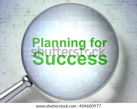 Finance concept: magnifying optical glass with words Planning for Success on digital background, 3D rendering - stock photo
