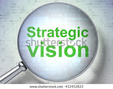 Finance concept: magnifying optical glass with words Strategic Vision on digital background, 3D rendering - stock photo