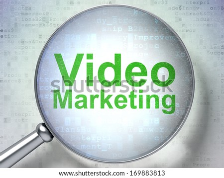 Finance concept: magnifying optical glass with words Video Marketing on digital background, 3d render - stock photo