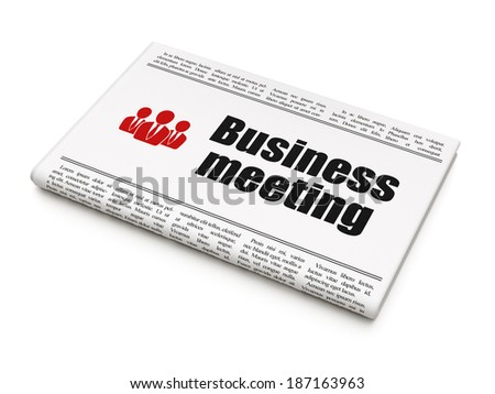 Finance concept: newspaper headline Business Meeting and Business People icon on White background, 3d render - stock photo