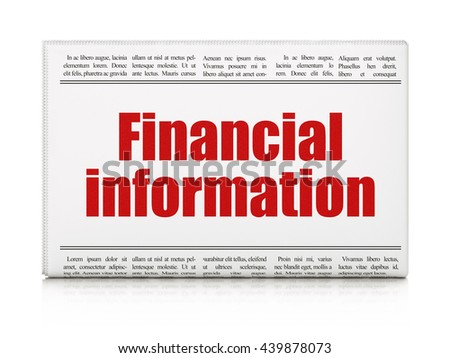 Finance concept: newspaper headline Financial Information on White background, 3D rendering - stock photo