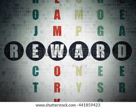 Finance concept: Painted black word Reward in solving Crossword Puzzle on Digital Data Paper background - stock photo