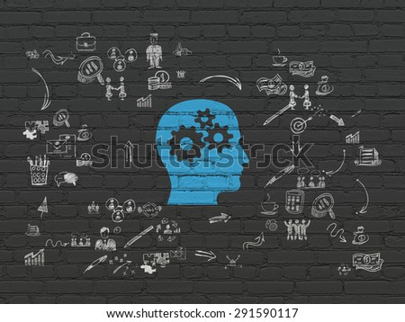Finance concept: Painted blue Head With Gears icon on Black Brick wall background with Scheme Of Hand Drawn Business Icons, 3d render - stock photo