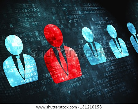Finance concept: pixelated Business Man icon on digital background, 3d render - stock photo