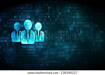 Finance concept: pixelated Business People icon on digital background, empty copyspace for card, text, advertising, 3d render - stock photo