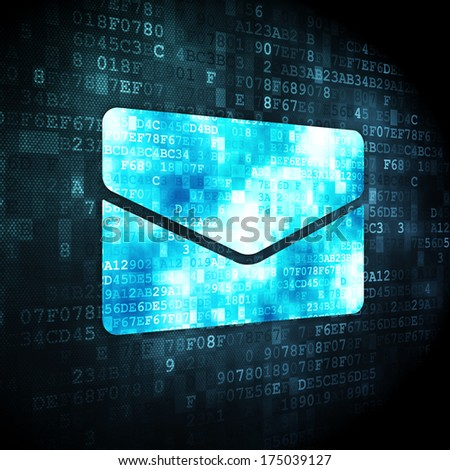 Finance concept: pixelated Email icon on digital background, 3d render - stock photo