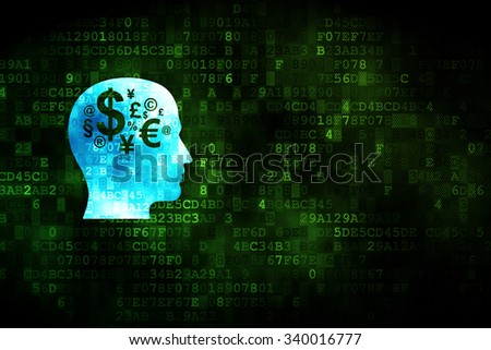 Finance concept: pixelated Head With Finance Symbol icon on digital background, empty copyspace for card, text, advertising - stock photo