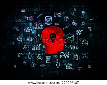 Finance concept: Pixelated red Head With Light Bulb icon on Digital background with  Hand Drawn Business Icons, 3d render - stock photo