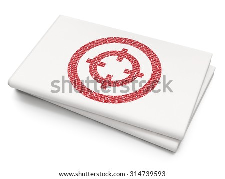 Finance concept: Pixelated red Target icon on Blank Newspaper background - stock photo