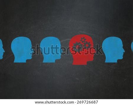 Finance concept: row of Painted blue head icons around red head with gears icon on School Board background, 3d render - stock photo