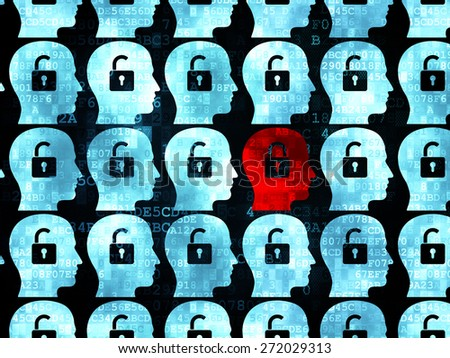 Finance concept: rows of Pixelated blue head with padlock icons around red head with padlock icon on Digital background, 3d render - stock photo