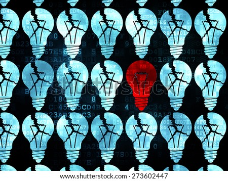 Finance concept: rows of Pixelated blue light bulb icons around red light bulb icon on Digital background, 3d render - stock photo