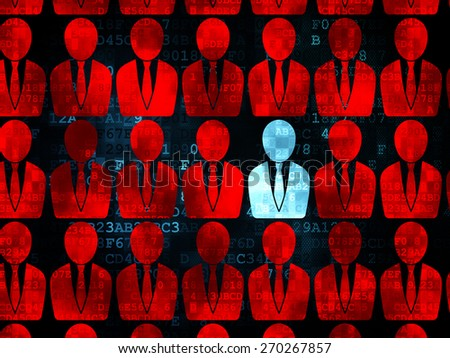 Finance concept: rows of Pixelated red business man icons around blue business man icon on Digital background, 3d render - stock photo