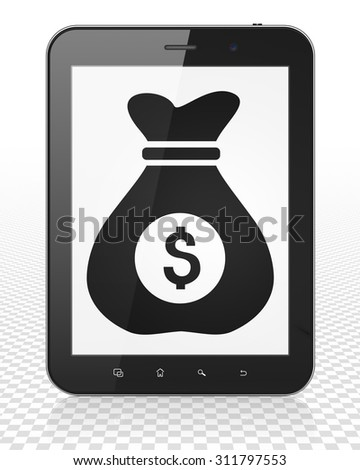 Finance concept: Tablet Pc Computer with black Money Bag icon on display - stock photo