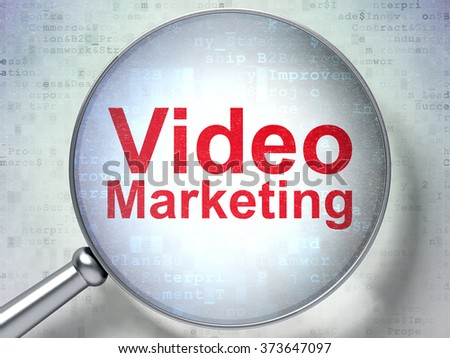 Finance concept: Video Marketing with optical glass - stock photo