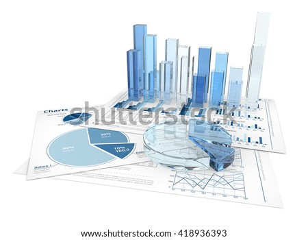 Finance. Financial documents with 3D graphs and pie charts of glass. - stock photo