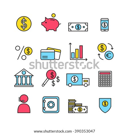 Finance icons isolated on background. Bank icons set. Money box, dollar, money exchange, mobile banking, credit card. Outline bank icons for web business. Flat line style illustration.  - stock photo