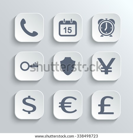 Finance icons set - white app buttons with phone calendar alarm clock key shield euro dollar pound yen - stock photo