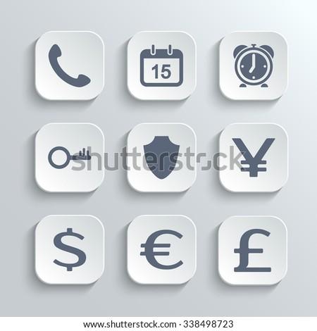 Finance icons set - white app buttons with phone calendar alarm clock key shield euro dollar pound yen - stock photo